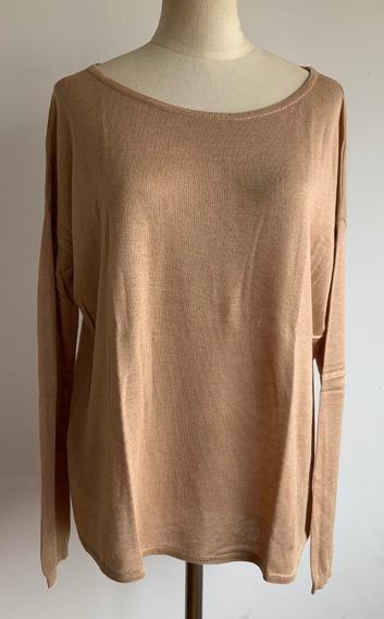 H&m. Sweater Tejido Fino Beige. Importado. Mujer. Talle S