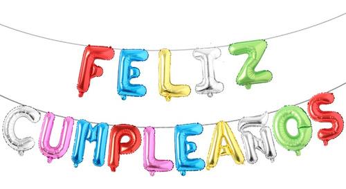 Imagen 1 de 1 de Globo Metálico Letras 46 Cm Feliz Cumpleaños En Color+regalo