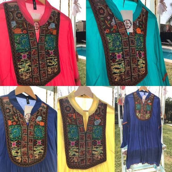 Camisola/vestido Hippie Style Pechera Bordada 2622