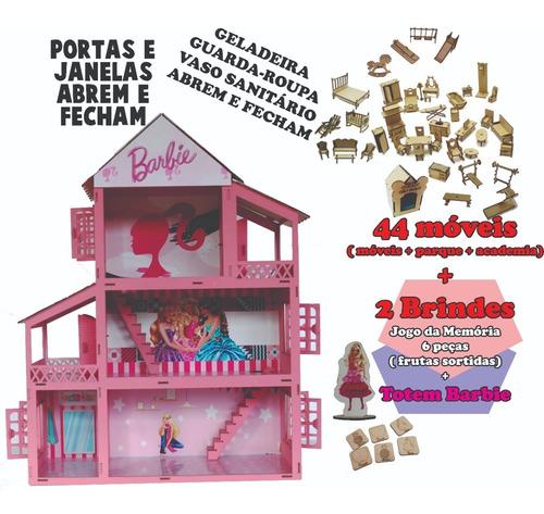 Casa Tema Barbie Adesivada Pintada 44 Móveis Mdf + Brinde