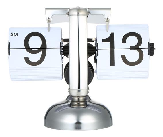 Relógio De Mesa Pequena Escala Retrô Flip Over Relógio Inoxi