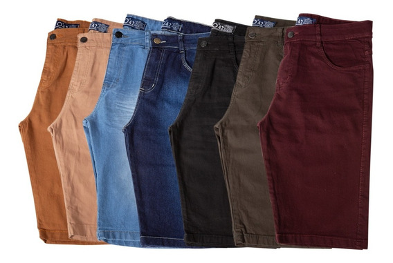 Kit 3 Bermudas Masculino Sarja Jeans Short Slim Lycra Brim