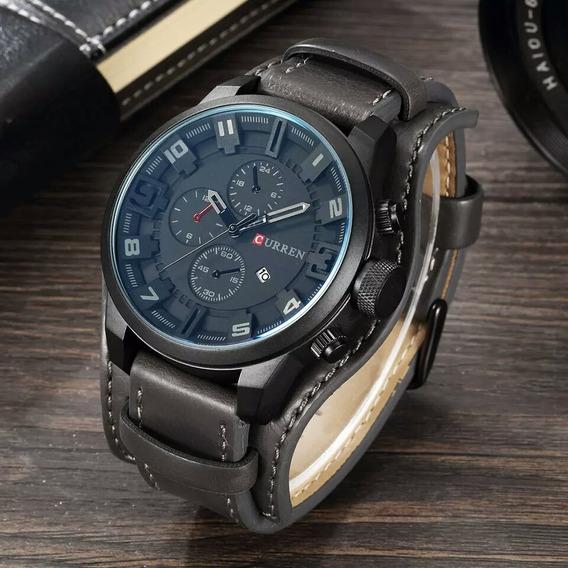 Relógio Curren 8225 Black Bracelete De Couro Top Luxo