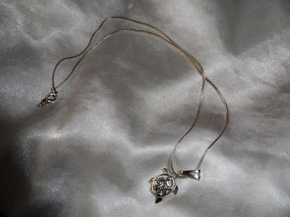 Elegante Colar/pingente Prata-de-lei Turtle,itália,déc.80