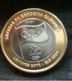 1 Moeda Entrega Da Bandeira Olímpica - Original