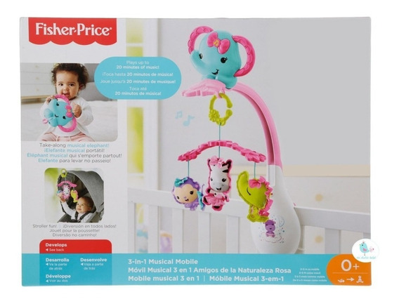 Fisher Price Movil Musical Elefante Rosa Drd69 (6107)