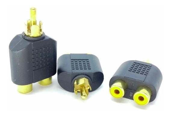3 Plug Adaptador 1 Rca Macho X 2 Jack Rca