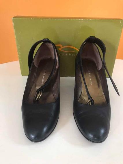 Zapatos 36 Negros Taco Chino Con Pulsera Maggio Rossetto
