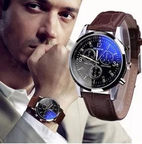 Kit 2 Relógios Luxo Masculino Pulso Social Pulseira Couro