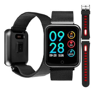 Relógio Smartwatch P68 Metal Inteligente Pressão Arterial Ip68 Notificação Academia Natação + Pulseira Extra De Silicone