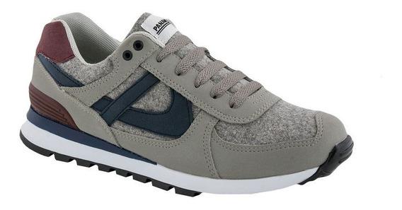 Tenis Panam Hombre Original Comodo Gris Azul Sneakers Retro