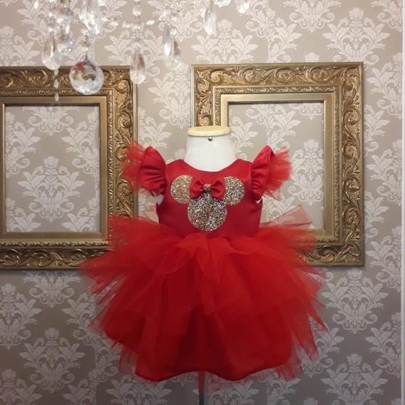 Vestido Minnie 1 Ano Festa Aniversário
