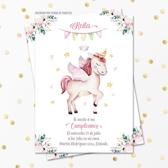 Invitación Digital + Imprimible - Unicornio Con Alas