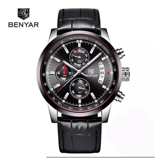 Relógio Benyar Com Cronógrafo Funcional Pulseira Masculino