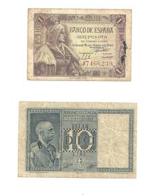 Cédulas Da Espanha E Da Itália ( Lote )