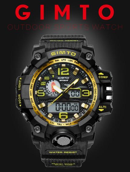 Relógio Masculino Esportivo Digital Gimto Gm303 Cronômetro Anti Queda Analógico