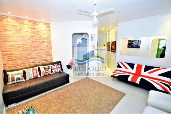 Oportunidade!!! Guarujá Enseadar Reformado, 1 Dormitório, Sacada, 1 Vaga, Salão De Jogos, 100 Mts Do Mar, Baixo Custo Mensal. - Ap0702