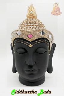 Figura Cabeza De Buda Siddharta Negro Y Dorada 33 X 18cm