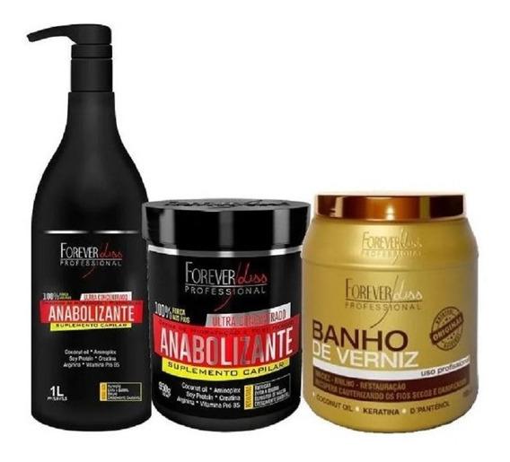 Kit Shampoo, Máscara Anabolizante 1kg E Banho De Verniz 1kg