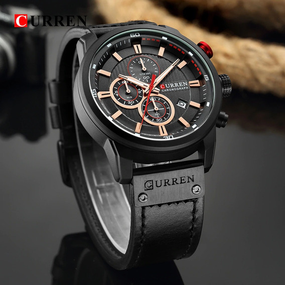 Relógio Masculino Curren Luxo Quartzo Esporte Militar 8291