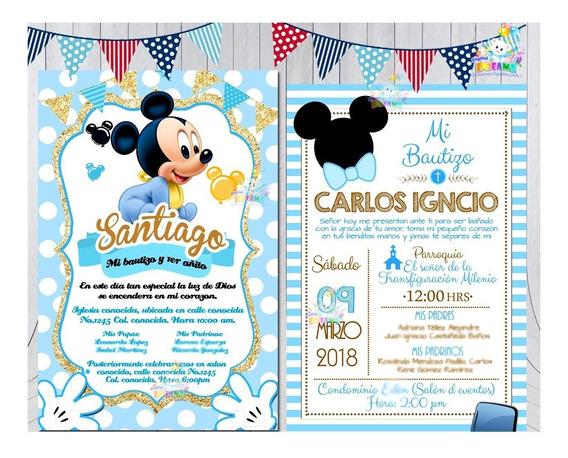 Invitacion De Bautizo Mickey Mouse Cumpleños