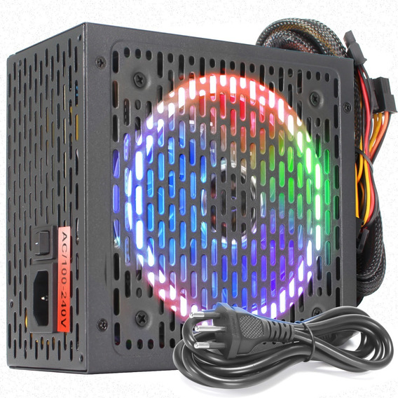 Fonte 500w Reais Real 80 Plus Atx Pc Computador Brx Led Rgb