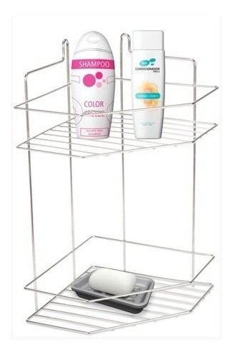 Imagem 1 de 5 de Suporte Para Shampoo De Canto Porta Xampu Duplo Parede