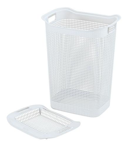 Imagen 1 de 2 de Canasta Para Ropa Plastica 50 Litros Cuadrada Blanca