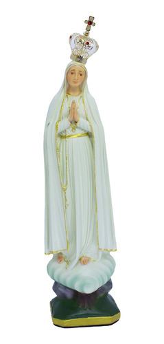 Escultura Imagem Nossa Senhora De Fátima 25cm C/ Coroa