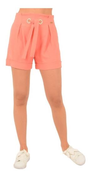 Short Casual Mujer Moda Cintura Ojillos Color Marino Y Coral
