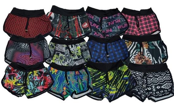 Shorts Curto Estampado Vários Modelos Suplex 02 Pçs Verão