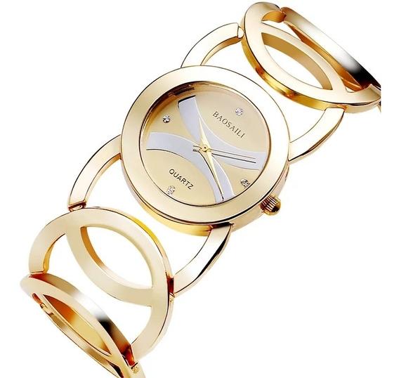 Relógio Feminino Baosaili Luxo Dourado