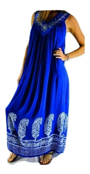 Vestido Importado India Bordado Talle Grande Hasta Xxxl