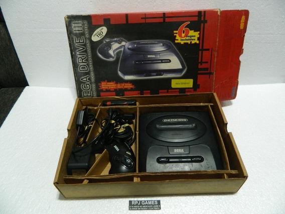 Mega Drive 3 Na Caixa Pronto Jogar 6 Jogos Controle Manual
