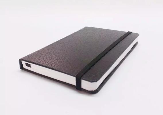 2 Cadernetas Couro Preta Sem Pauta 14x9 Cm Bloco De Anotação
