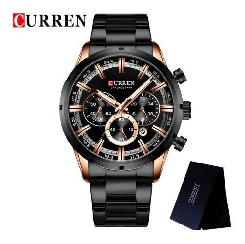 Relógio Masculino De Luxo Curren Lançamento Pulseira De Inóx