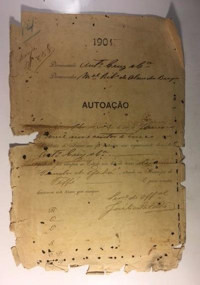 Documento Jurídico Antigo De Autoação - Raro - 1905