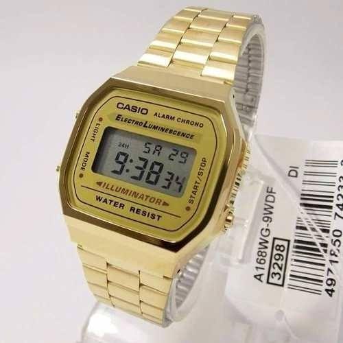 Relógio Casio A-168wg-9wdf Dourado Unissex - Original