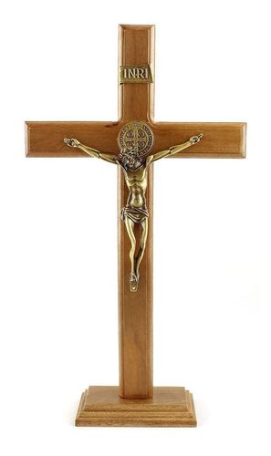 Crucifixo Medalha São Bento Parede/mesa, Madeira Metal 36cm