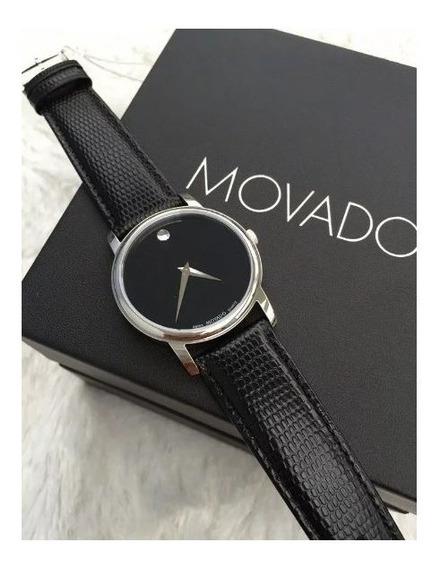 Relógio Movado Museum Black Stainless Steel 2100002 Novo Cx