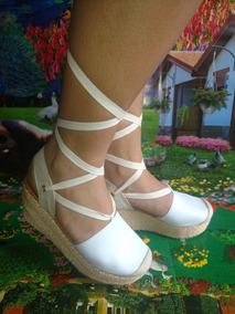Sandalia Romana Color Blanco Suela Yute Directo Fabrica Dama