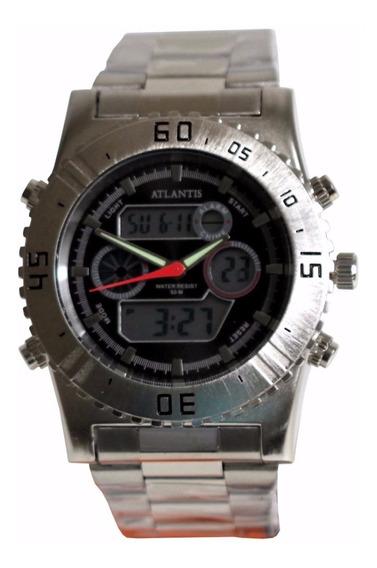 Relógio Masculino Atlantis Aço Barato Prova Dágua