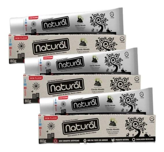 3 Pasta De Dente Natural Vegano S Fluor 80g Carvão Ativado