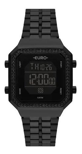 Relógio Feminino Euro Fashion Fit Diamond Preto