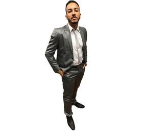 Terno Brilhoso Slim Fit Luxo Cinza Chumbo + Sapato Social
