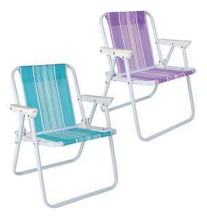 Kit 2 Cadeira Infantil Aço Camping Praia Rosa E Azul - Mor