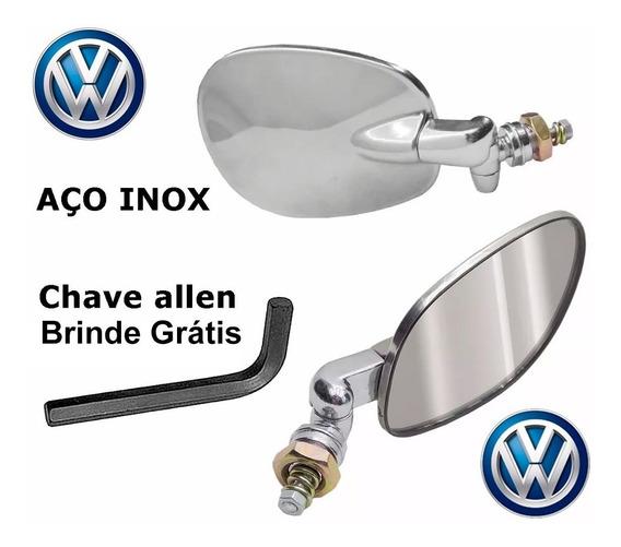 Par Retrovisor Fusca Raquete Aço Inox +ch Allen 12x S/juros
