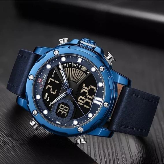 Relógio Masculino Naviforce Original Importado Couro Azul