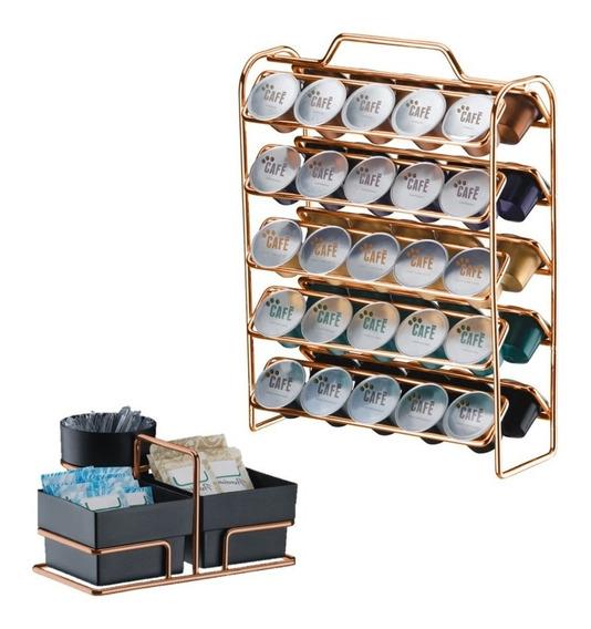 Kit Suporte 50 Cápsulas Nespresso + Porta Sachês Rosé Gold