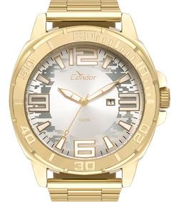 Relógio Condor Masculino Dourado Prata Barato Co2115ktz/4k